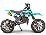 SYX MOTO Kids Dirt Bike Holeshot 50cc Gas Power Mini Dirt Bike 23inches Seat Height Dirt Off Road Motorcycle, Pit Bike Fully Automatic Transmission (Teal2021, Year 2021)