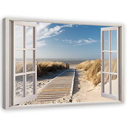 Leinwandbild XXL 3D Illusion Wandbild Modern Kunst Küste Nordsee Landschaft Steg Meer Beige 120x80 cm