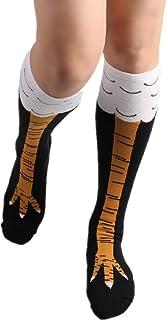 BaZhaHei 1 Pares Mantienen cálidos Calcetines Largos en Forma de Tubo de algodón Calcetines cómodos de Piso Pollo pies Medias Dibujos Animados Calcetines Calcetines de Fondo Comfortable Floor Socks