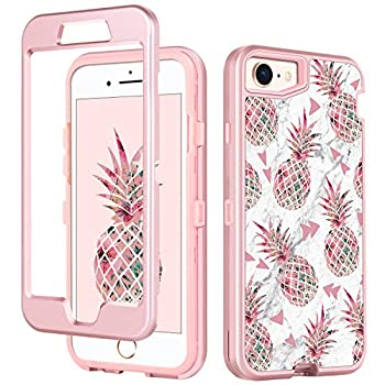 GUAGUA iPhone SE 2020 Case iPhone 8 Case iPhone 7 Case Pineapple for Girls Women Marble Cover 3-in-1 Hybrid Hard PC Soft TPU Bumper Shockproof Protective Cases for iPhone 8/7/SE 2020 Rose Gold