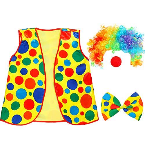 Clown Kostüm Fliege Perücke Set Clown Verkleidung Zubehör Clown Nase und Weste für Cosplay Party Zubehör
