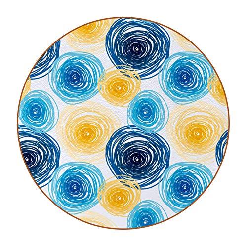 Copas de silicona para bebidas, posavasos de cristal, parte inferior antideslizante, multicolor, mesa de cristal, mesa de madera, mesa de 6 piezas, set art azul y amarillo graffiti dibujado círculos