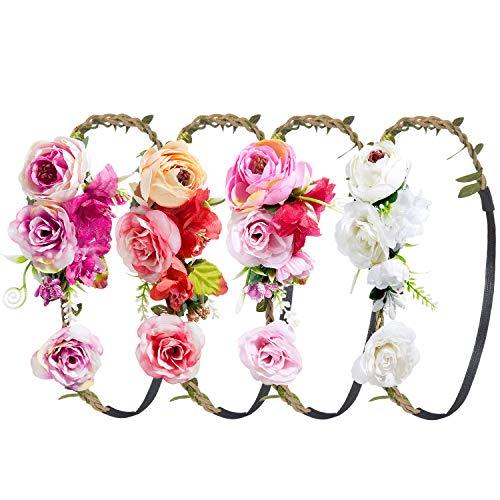 Stirnband Blumen, ZWOOS 4 Stück Stirnbänder Krone Haarband Kopfband Blume Haarbänder mit Elastischem Band für Hochzeit und Party (8)