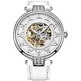 BUREI de la Mujer Esfera Blanca Skeleton Automatic Reloj con Piel de Cuero (Oro)