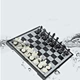 JIKLLSJID Travel Chess Set for Adults, Eco Chess Pieces, Wooden Chess Set Traditional Tactical Strategy Game for Kids/Children/Adults (37 * 37cm) (Color : Black+White, Size : L(37cm))