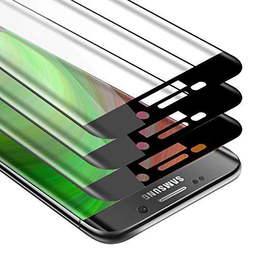 Cadorabo 3x Pellicola Protettiva copertura completa compatibile con Samsung Galaxy S6 EDGE PLUS in TRASPARENTE con NERO - Pacco di 3 Vetro di protezione del display con durezza 9H con 3D touch