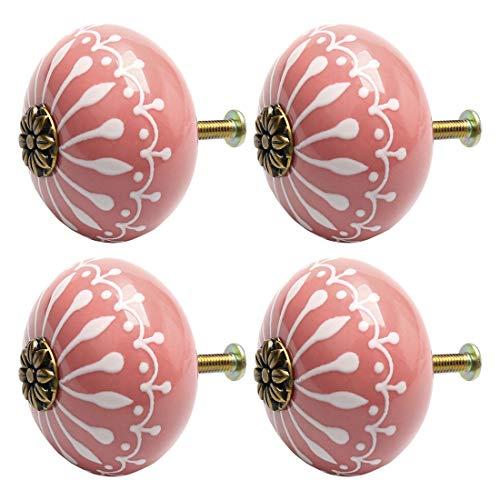 uxcell 4pcs Ceramic Knobs Vintage Knob Drawer Pull Handle Furniture Door Desk Cabinet Cupboard Wardrobe Dresser Decorative Pink