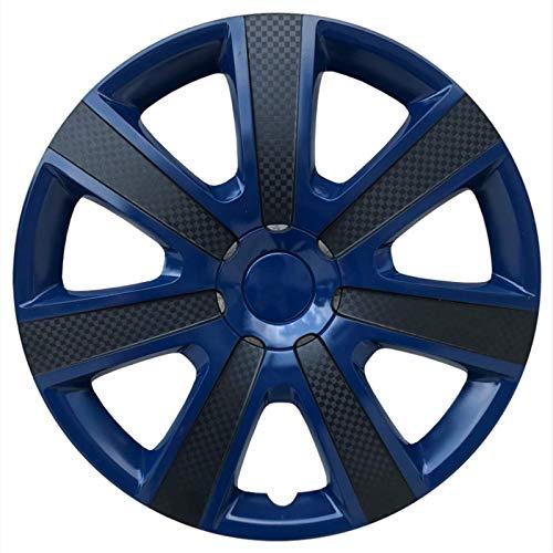 EET Set Tapacubos 14/15 Pulgadas De Aspecto De Carbono, Universal para La Mayoría De Las Cubiertas De Llantas De Piezas De Automóviles/Camionetas, Wheel Trims Ruedas Premium,Blue Black,15 Inches
