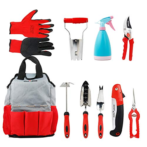 FLORA GUARD 10-teiliges Set Gartengeräte mit Handschuhen und Kit…