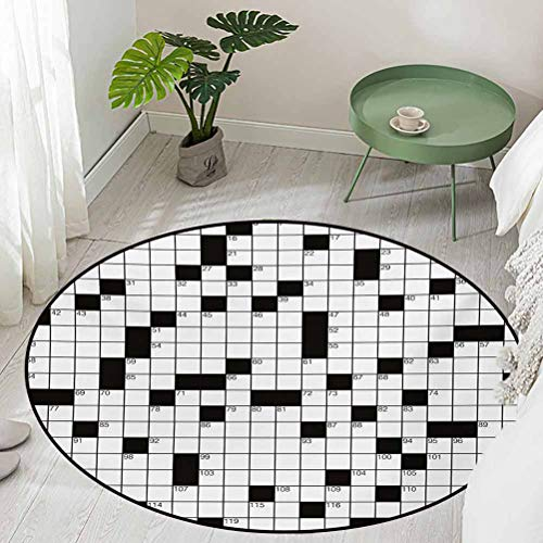 Round Floor mats for Kids Classical Crossword Puzzle with Black and White Boxes and Numbers Diameter 48 inch Best Floor mats