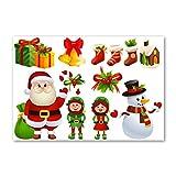 Juego de 10 pegatinas de Navidad | calcomanía de coche | pegatina de ventana | Santa, elfo, muñeco de nieve, campanas, decoraciones (pequeñas)