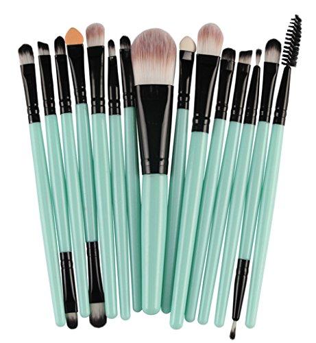Bigood 15Pcs Pinceaux Maquillage Professionnel Brosse Sourcil Eyeliner Cosmétique