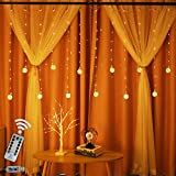 Obrecis Edison Style Bulb Hanging Twinkle Star LED Curtain Light 8 Modes, USB Remote & Timer Icicle Curtain Lights for Wedding, Proposal, Indoor Outdoor Wall (Warm White)