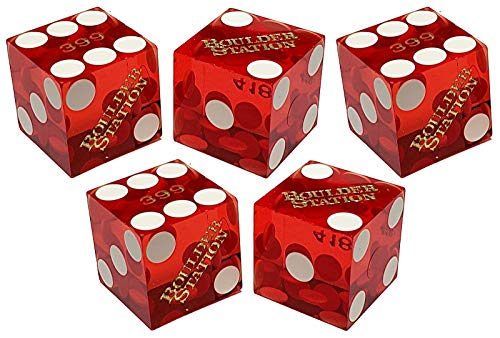 Set of 5 Authentic Las Vegas Casino Table-Played 19mm Craps Dice with Matching Serial Numbers (Boulder Station (Red Polished))