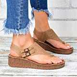 HYWL Women's Wedge Sandal Plantar Fasciitis Feet Sandal with Arch Support Best Orthotic,Brown,38
