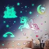 Unicornio Pegatinas Pared Decorativas Dormitorio Infantiles, Pegatina Pared Luminosas Estrellas Fluorescentes Techo Decoración Niña