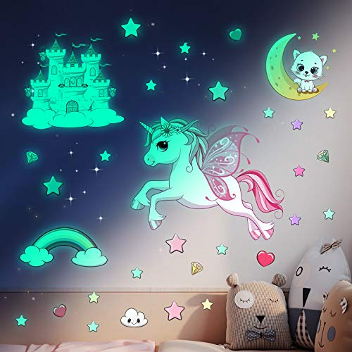 Unicorn Wall Stickers Glow in The Dark Stars Stickers for Ceiling, Cute Glowing Moon Luminous Star Castle Cat Decals Sticker for Girls Bedroom Living Room Decorations