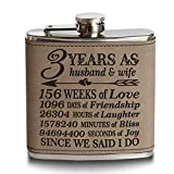 Bella Busta-3 Years as a husband and wife-Years,Weeks, Days, Hours, Minutes, Seconds Engraved Light Brown Leatherette Stainless Steel Flask-3 years Anniversary leather gift (6 oz (Light Brown))