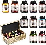 GC - Set di 10 flaconi di inchiostro per calligrafia da 20 ml, inchiostro privo di carbonio per penna stilografica, per diario, scrittura e disegno, GC-710