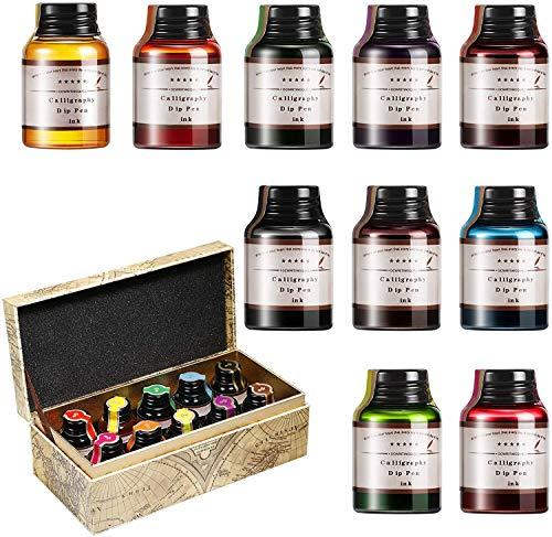 GC Lot de 10 flacons d'encre de calligraphie de 20 ml - Recharge d'encre sans carbone pour stylo plume - Pour journal, écriture, dessin - GC-710