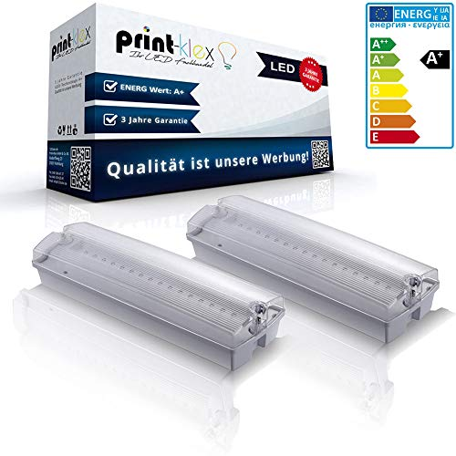 2X LED Notleuchten 3W Aufputz IP65 6000K - Kaltweiß Notlicht Fluchtweg Leuchte Notbeleuchtung