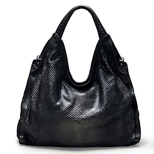 Reptile's House   NEMESI - Shopper Metall schwarz   Ledertasche für Damen   Schultertasche   Made in Italy