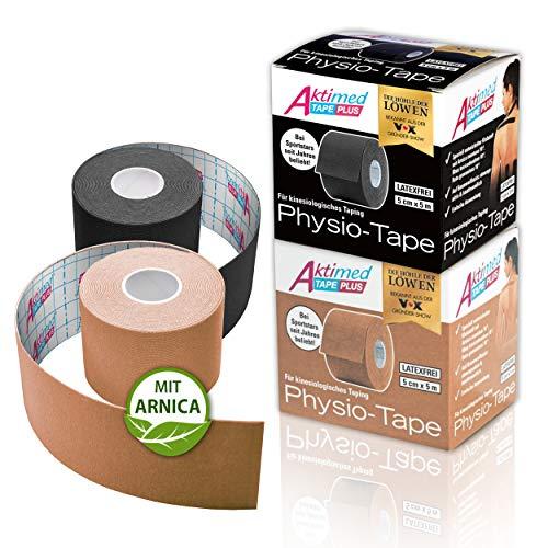 """AKTIMED Tape PLUS Kinesiologie Tape – Sporttape mit pflanzlichem Extrakt Arnica D6* – patentiertes Physiotape Dermatest """"sehr gut"""" – Kinesiologie Tapes elastisch & wasserfest (2er Set)"""