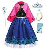 O.AMBW Cosplay 4 Accesorios Vestido Largo con Capa Rojo Rosado para Niñas Disfraz Hermana Reina Elsa Princesa Anna Festival Carnaval Halloween Jugar Roles Frozen Regalo Navidad Cumpleaños