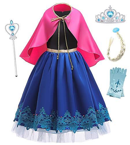 O.AMBW Cosplay 4 Accesorios Vestido Largo con Capa Rojo Rosado para Nias Disfraz Hermana Reina Elsa Princesa Anna Festival Carnaval Halloween Jugar Roles Frozen Regalo Navidad Cumpleaos
