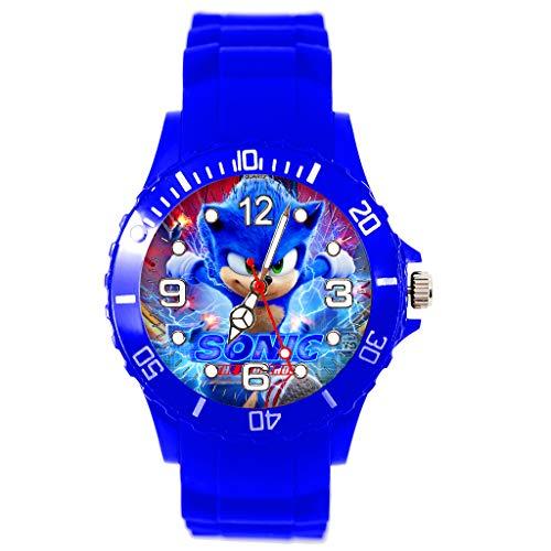Runde Quarz-Armbanduhr aus Silikon, Blau für Fans von Sonic The Hedgehog E4