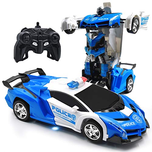 Zosam Electric Police Car One Button Transformation Robot Deformation Car Model Toy 360 Speed Drifting 1:18 Scale with Lights and Sounds Best Birthday and Xmas Gift Deformation Toys for Kid (White)
