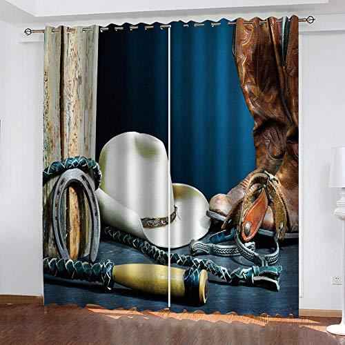 N / A Cortina 3D De Dormitorio Botas De Cuero con Látigo 100% Poliéster Térmica Aislante De Habitaciones Juveniles Modernos Cortinas Opacas Personalizadas