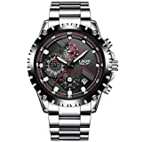 Pour homme en acier inoxydable Noir classique de luxe décontracté montres avec multifonction chronographe montres de sport...