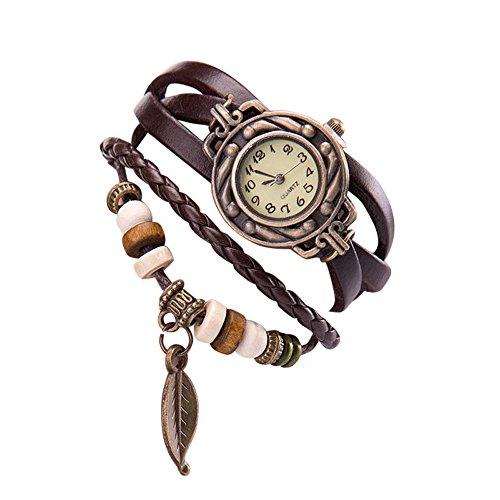 Chenang - Reloj de Pulsera de Cuarzo, con Correa de Piel, diseño Retro