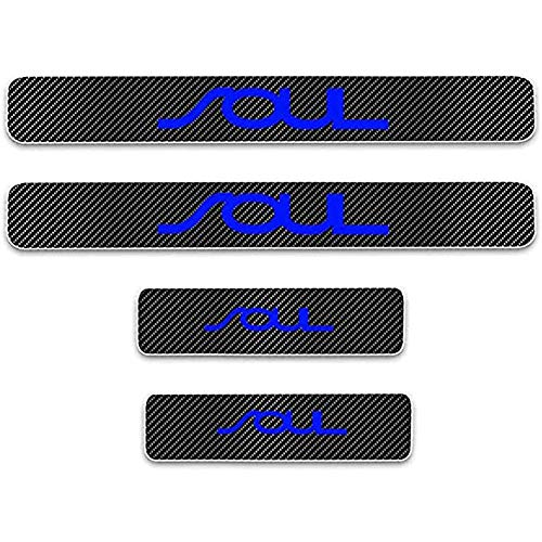 ZGYAQOO 4 Pcs Car Carbon Fiber Leather Door Sill Kick Plates for Kia SOUL, Scuff Plate Guard Protector Trim Sticker, with High Intensity Reflective Tape