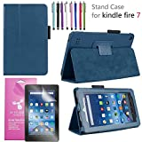 EpicGadget 2019/2017 Amazon Fire 7 Case, Smart Cover Case for Fire 7 Premium PU Leather Folding Folio Stand Case for Fire 7 inch (2019/2017 Release) + 1 Screen Protector and 1 Stylus (Navy Blue)