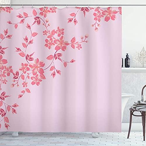 N \ A Blassblauer Duschvorhang, japanische Sakura-Kirschbaumzweige, frische ruhige Frühlingsnatur, Stoffstoff, Badezimmer-Dekor-Set mit Haken, 183 cm lang, blaugrau