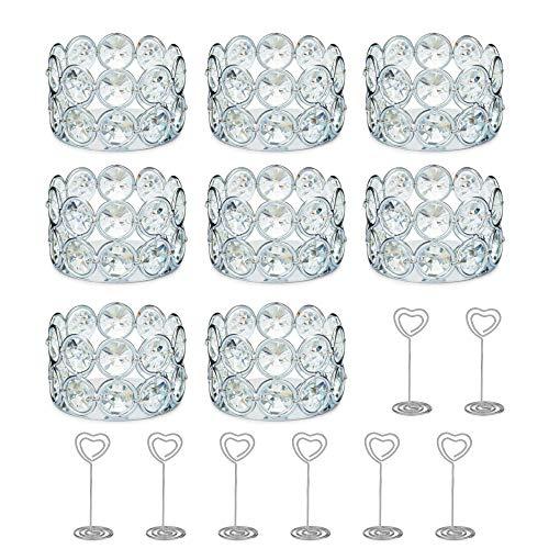 Portavelas para velas, pequeños artículos de decoración para estante, portavelas votivos para mesa, portavelas para mesa de comedor, portavelas de cristal o centros de mesa para...