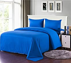 Tache Home Fashion 3-4PCOM-W/Zip-Blue-CK Solid Comforter bed in a bag duvet bedding Set (4 Piece), Blue, California King