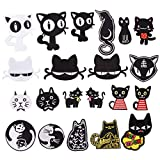 Patch Thermocollant, Écusson Brodé Patch, pour la réparation ou le bricolage de T-shirts, jeans, vêtements, motif de chat noir dessin animé 21pcs