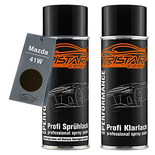 TRISTARcolor Autolack Spraydosen Set für Mazda 41W Jet Black Perl Basislack Klarlack Sprühdose 400ml