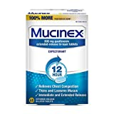 Mucinex 12 Hour Chest Congestion Medicine, Chest Congestion Relief, Expectorant, Lasts 12 Hours, Powerful Symptom Relief, Extended-Release Bi-Layer Tablets, Value Size, 68 Count (Pack of 2)