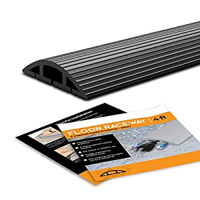 SimpleCord Floor Cord Cover - 10 Ft Black Duct Cord Protector Covers Cables, Cords, or Wires - 3 Channel On Floor Raceway for Sidewalks or Walkways