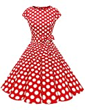 Dressystar Vestidos Coctel Corto Vintage 50s 60s Manga Corta Rockabilly Elegante Mujer Rojo Blanco Lunares B S