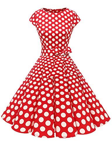Dressystar Damen Vintage 50er Cap Sleeves Dot Einfarbig Rockabilly Swing Kleider Rot Weiß Dot B L