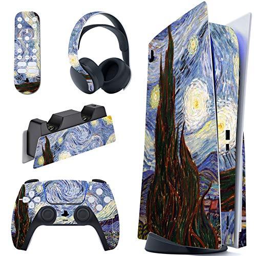 playvital Gwiaździsta noc pełny zestaw naklejka na konsolę PS5 edycja dysku, naklejka winylowa kalkomania pokrowiec na PlayStation 5 do kontrolera DualSense & stacji ładującej i zestawu słuchawkowego i pilota multimedialnego