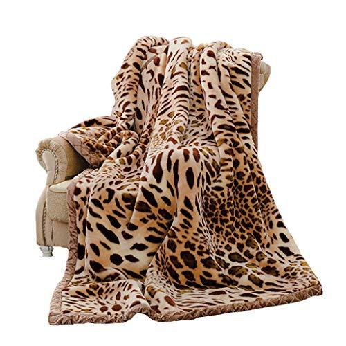Couvertures et Plaids Plaids et boutis Linge de li de léopard à Haute teneur en Automne et en Hiver Corail Double Chaude Feuilles canapé couvertu