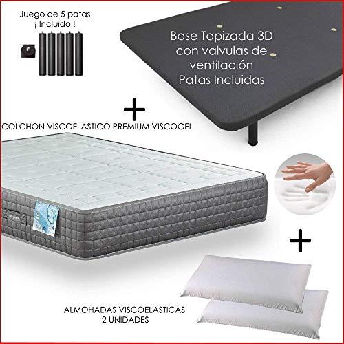 Dulces Sueños Pack COLCHON VISCOELASTICO Premium + Base TAPIZADA 3D + Patas + 2 Almohada VISCO(70) (150 x 190) PROMOCIÓN