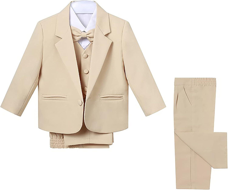 Sholeno Kids Boys Gentleman Formal Suit Notch Lapel Blazer Shirt Vest Pants Bowtie Suit Wedding Party Set