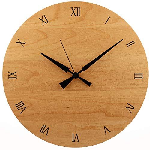 Holzuhr | Wanduhr | Holz | Buche Natur Massivholz | ⌀ 31cm rund | sehr leises Quarz Uhrwerk von Junghans | modern | Qualitätsprodukt | handgemacht in Österreich | exklusiv